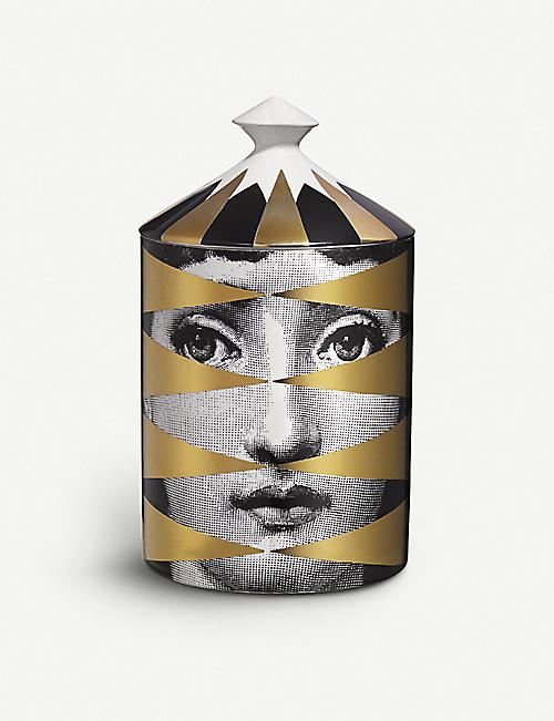 FORNASETTI: Gold Losanghe scented candle 300g