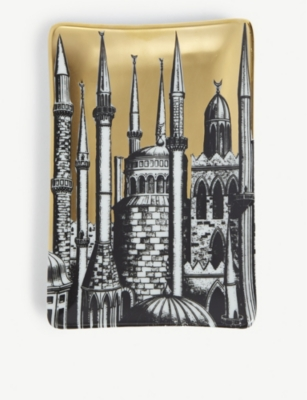 FORNASETTI Minareti printed porcelain ashtray 15.5cm x 10.5cm