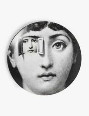 FORNASETTI Printed porcelain wall plate 26cm