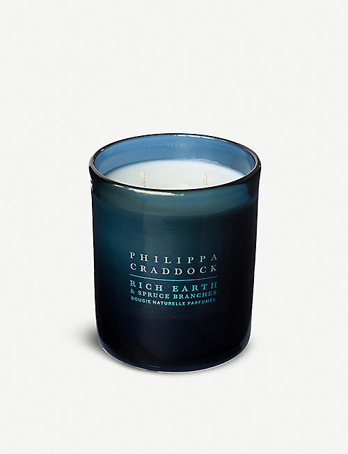 PHILIPPA CRADDOCK Rich Earth & Spruce Branches wax candle 300g