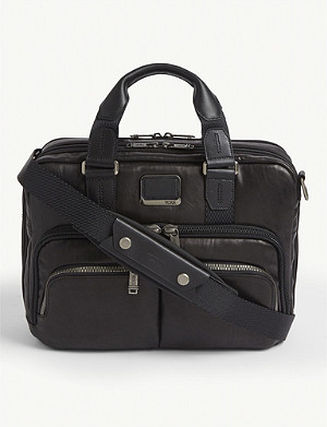 TUMI Albany commuter leather and fabric brief bag