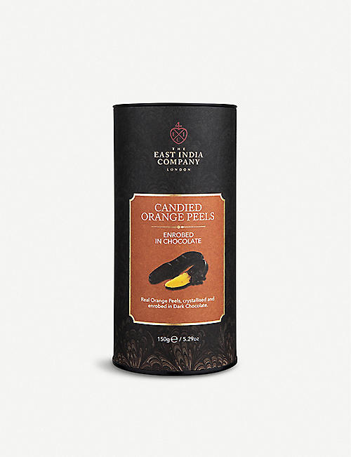 THE EAST INDIA COMPANY: Dark chocolate candied orange peels 150g
