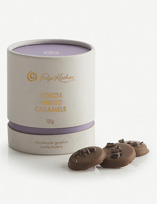 FUDGE KITCHEN: Milk chocolate cocoa nibbed caramels 125g