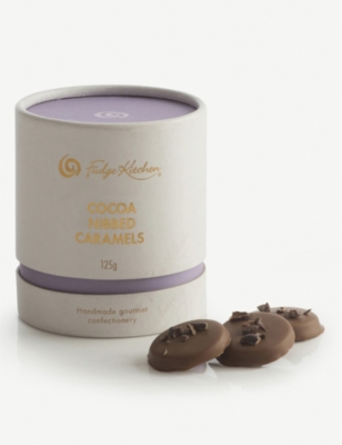 Milk Chocolate Cocoa Nibbed Caramels 125g by Fudge Kitchen