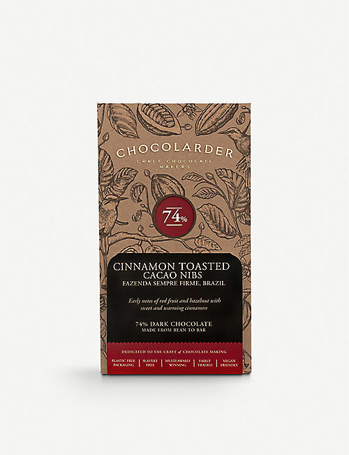 CHOCOLARDER: Cinnamon-toasted cacao nib dark chocolate bar 70g
