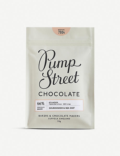 PUMP STREET: Sourdough and Sea Salt 66% dark chocolate bar 70g