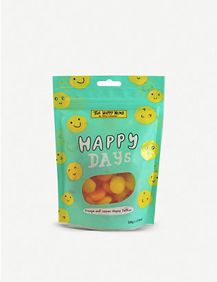 CHOCOLATE: The Happy News Happy Days orange and lemon jelly sweets sharing bag 200g