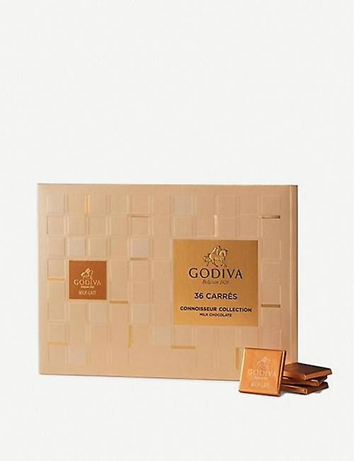 GODIVA: Assorted chocolate carrés box of 36