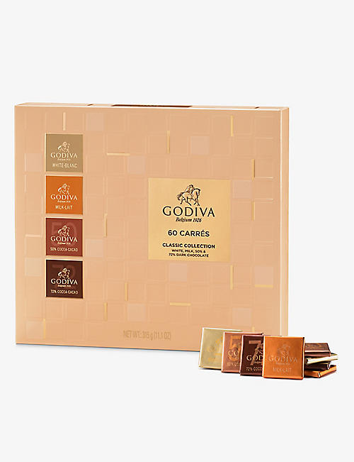 GODIVA: Classic Collection 60 chocolate carrés 310g