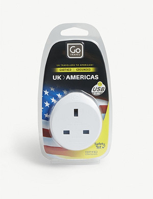 GO TRAVEL UK to Americas plug adapter with USB port