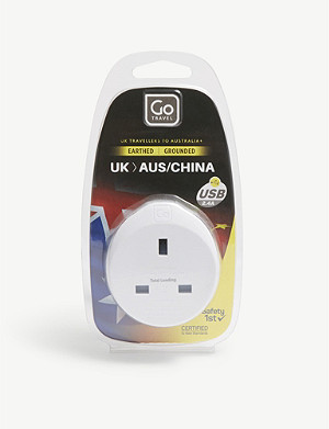 GO TRAVEL UK to Australia and China plug adapter with USB port