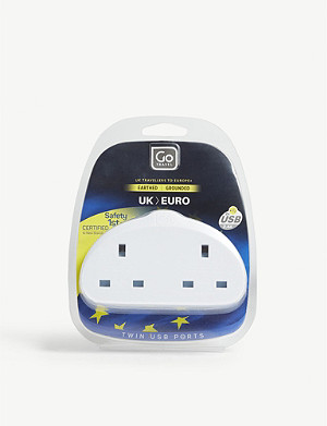 GO TRAVEL UK to Europe double plug adapter with twin USB ports