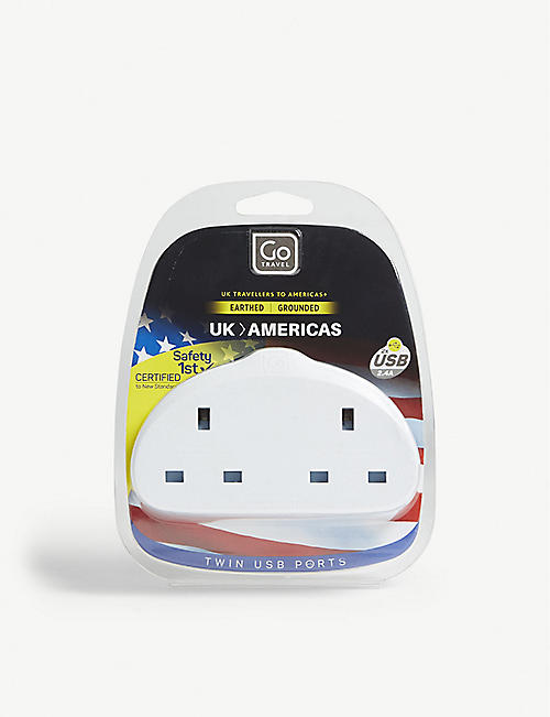 GO TRAVEL UK to Americas double plug adapter with twin USB ports