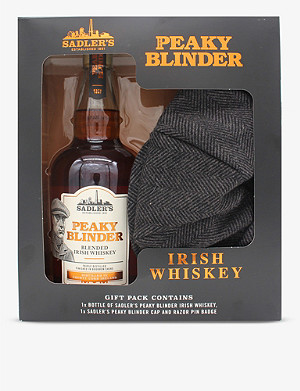 WHISKY AND BOURBON Sadler's Peaky Blinder Irish whisky and flat cap gift box 700ml