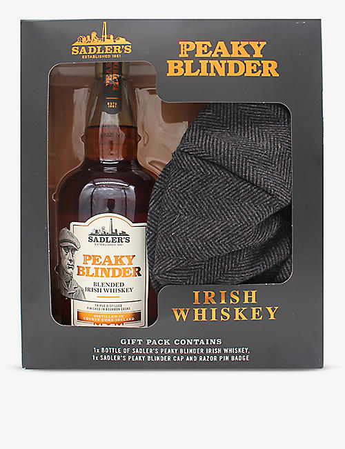WHISKY AND BOURBON: Sadler's Peaky Blinder Irish whisky and flat cap gift box 700ml