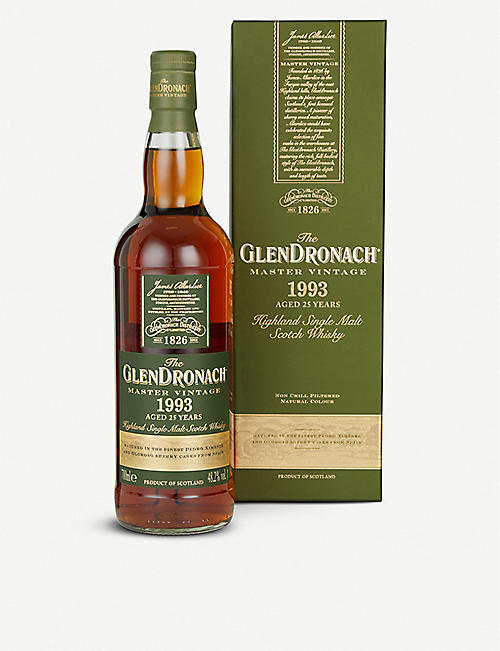 WHISKY AND BOURBON Glendronach Master Vintage 1993 single malt Scotch whisky 700ml