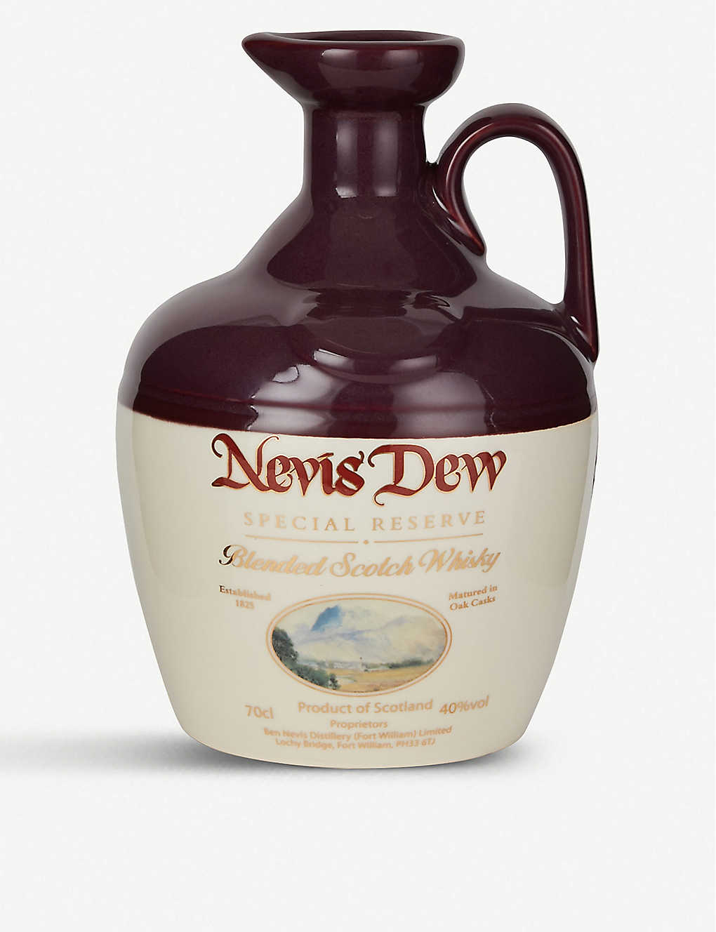 WHISKY AND BOURBON: Dew of Ben Nevis special reserve ceramic decanter 700ml