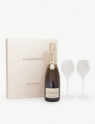 LOUIS ROEDERER: Brut NV champagne and glasses gift box