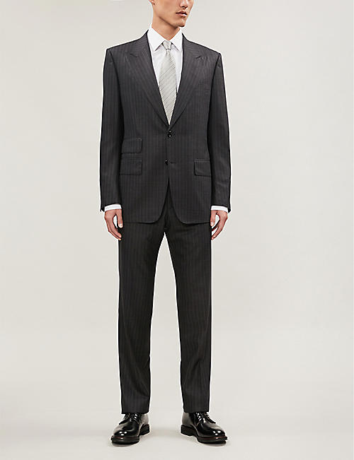 TOM FORD Windsor-fit pinstriped wool and silk-blend jacket