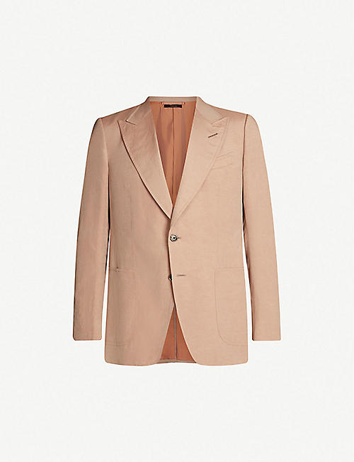 TOM FORD Shelton-fit silk and linen-blend blazer