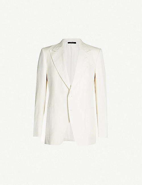 3b5fb073685d TOM FORD Single-breasted Shelton-fit silk and linen-blend blazer