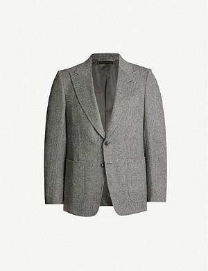 TOM FORD Herringbone Shelton-fit stretch-wool and cashmere-blend blazer