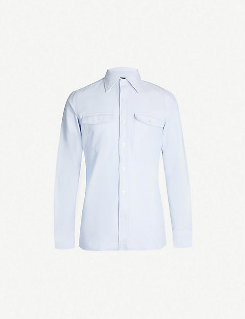 TOM FORD Patch-pocket slim-fit cotton-twill shirt