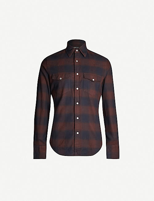 TOM FORD Checked regular-fit cotton-flannel shirt