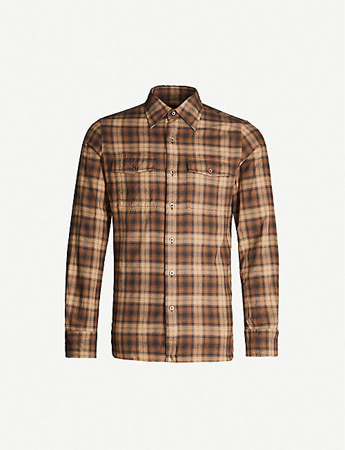 TOM FORD Checked slim-fit cotton-flannel shirt