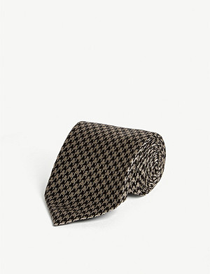 TOM FORD Houndstooth print silk-blend tie