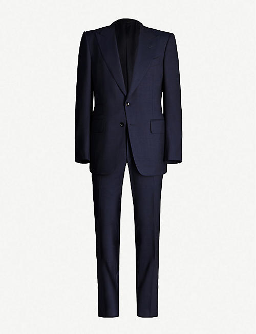 TOM FORD: Padded-shoulder single-breasted wool-blend suit