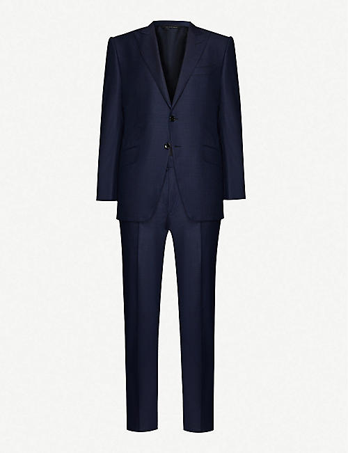 TOM FORD Dogtooth-pattern wool-and-silk blend suit