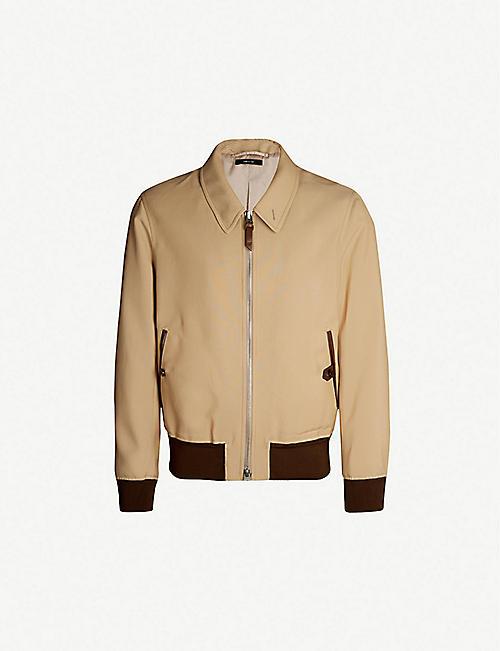 1abc894e2e4 TOM FORD Leather-trimmed crepe bomber jacket