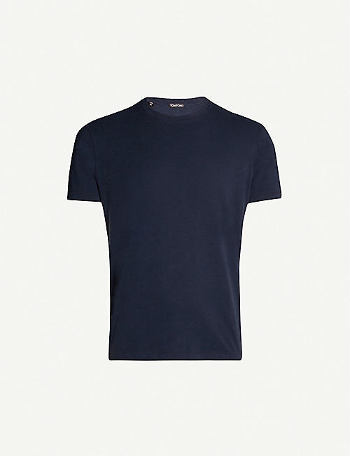 TOM FORD Logo-embroidered lyocell and cotton-blend T-shirt