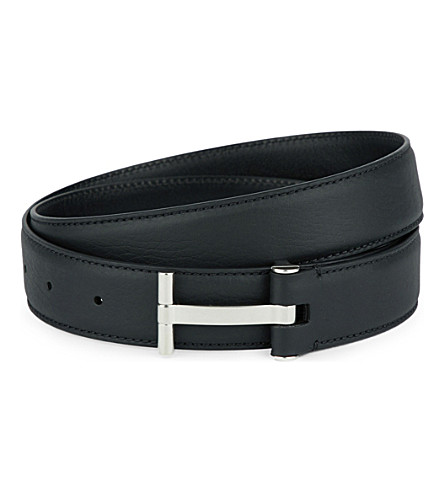 Tom Ford Men'S Leather T-Buckle Belt, Brown, Brown/Black
