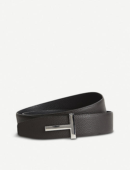 TOM FORD: Reversible T logo leather belt