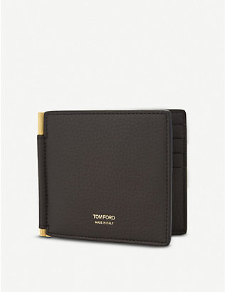 TOM FORD: Textured leather money clip wallet