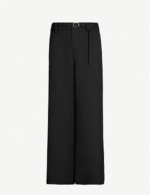 ROLAND MOURET Aperol belted high-rise crepe wide-leg trousers