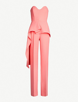 ROLAND MOURET Brittas strapless ruffled wool-crepe jumpsuit