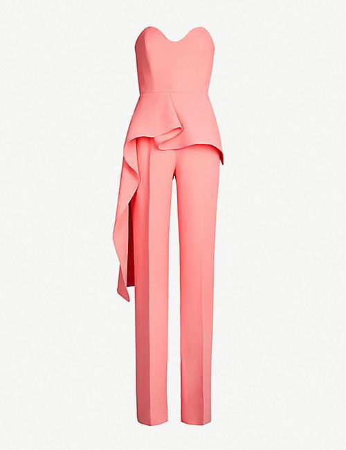 5e258671d64 ROLAND MOURET Brittas strapless ruffled wool-crepe jumpsuit