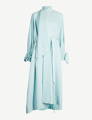 ROLAND MOURET Dorchester asymmetric-hem tied-cuff draped wool coat