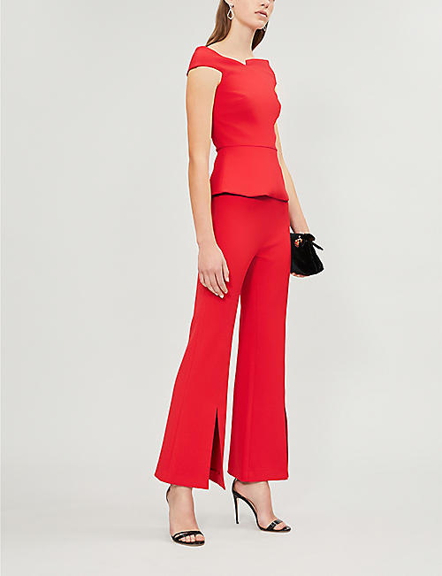 ROLAND MOURET Danesfield high-rise flared crepe trousers