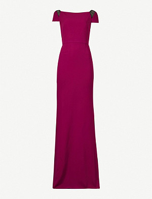 ROLAND MOURET Hepworth lace-embellished crepe maxi dress