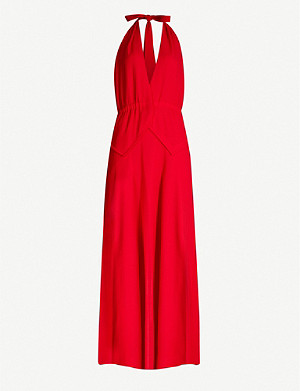 ROLAND MOURET Katana sleeveless wool maxi dress