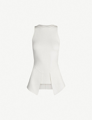 ROLAND MOURET Lawrence peplum-waist knitted top