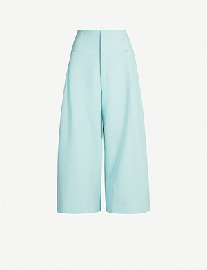 ROLAND MOURET Lenark cropped high-rise wide-leg wool trousers