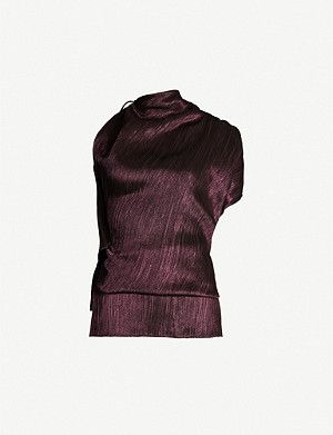 ROLAND MOURET Lyan asymmetric-hem silk-blend top