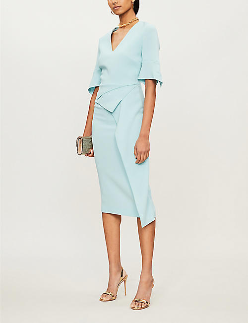 ROLAND MOURET Marengo flared-cuff folded wool midi dress
