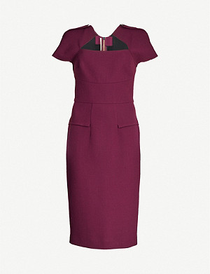 ROLAND MOURET Myrtha wool-crepe midi dress