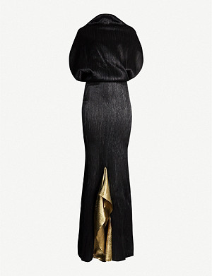 ROLAND MOURET Nola textured high-neck silk-blend gown